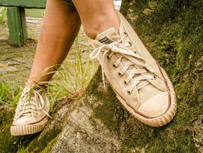 Behind Tree Belongs To Me Detail Eyeem Market Fashion Feet Footwear Forestwalk Human Foot Shoes Photography Shoeselfie