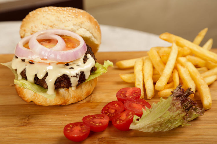 Close-up of burger on plate
