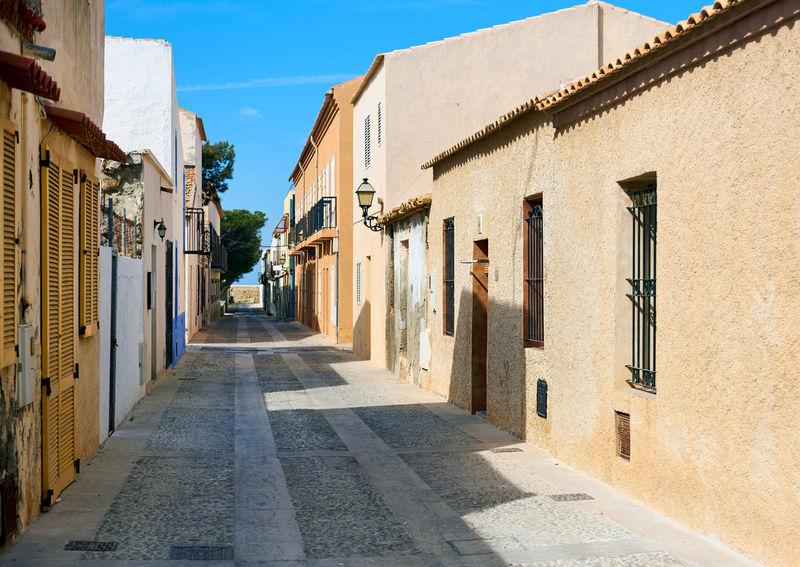 Charming narrow street in the Island of Tabarca. Province of Alicante. Spain Alicante Province Spain Architecture Charming Street Europe Footpath Holiday Island Narrow Street Outdoors Pathway Residential Building Scenery SPAIN Spanish Summer Sunny Day Tabarca Tabarca's Island Tourism Tourist Resort Town Travel Destinations Tropical Climate Vacation Walkway