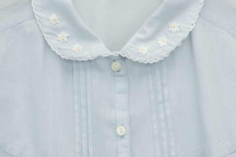 Adult Button Down Shirt Casual Clothing Close-up Clothing Dress Elégance Embroidery Fashion Females Floral Pattern Front View Hanmade Indoors  Jewelry Lace Midsection Necklace One Person Pearl Jewelry Shirt Standing Textile White White Color