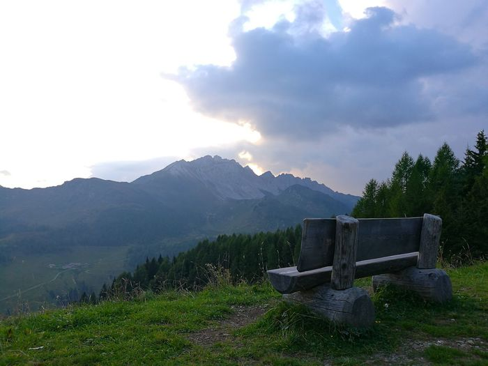 Bench On The Mountain Mountain Transportation Scenics Tranquil Scene Mountain Range Tranquility Sky Beauty In Nature Physical Geography Cloud - Sky Remote Nature Non-urban Scene Rural Scene Solitude Growth Day Outdoors Tourism Countryside