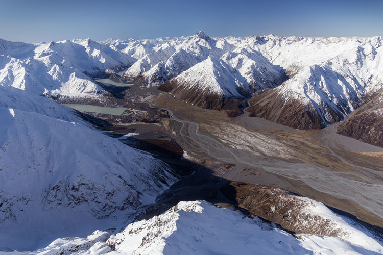 The Godley Valley, South Island of New Zealand Aerial Cold Temperature Day Flight Glacier Godley River Godley Valley Ice Lake Tekapo Landscape Mountain Mountain Range Mountains Nature New Zealand No People Outdoors Sky Snow South Island Tourism Travel Valley Winter