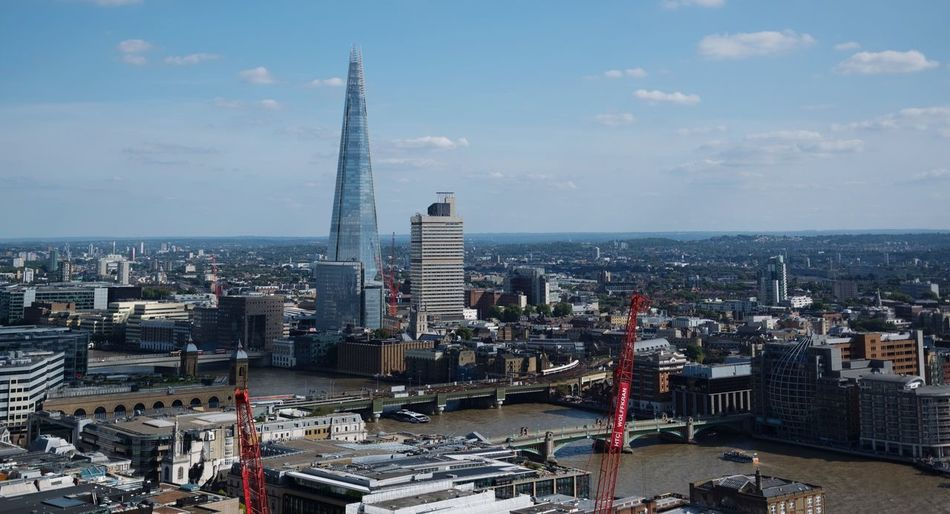 Architecture Cityscape City Tall - High Built Structure Building Exterior Tower Shard London Sky Crowded High Angle View Modern Day Cloud - Sky Travel Destinations Outdoors Urban Skyline Tall Water Postcode Postcards