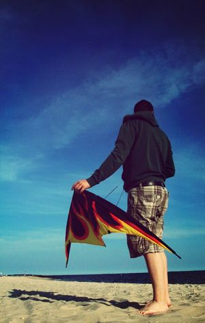 Boyfriend and his kite :) - People Kites Beach Sky