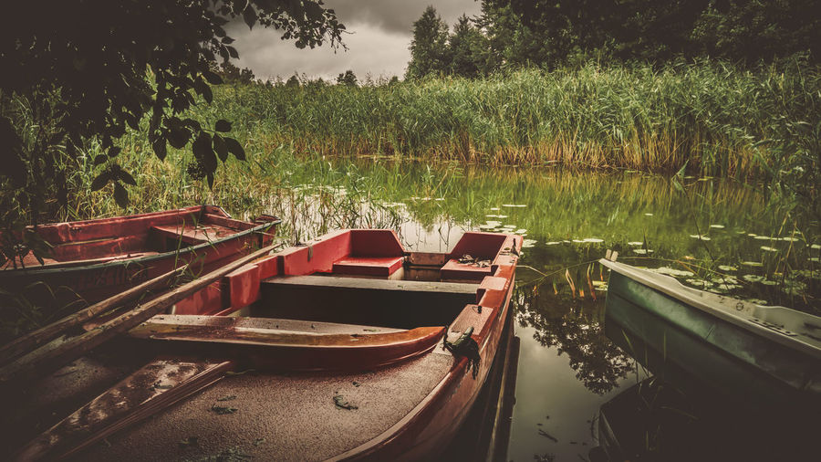Beauty In Nature Day Grass Growth Lake Mode Of Transportation Moored Nature Nautical Vessel No People Outdoors Plant Reflection Rowboat Tranquil Scene Tranquility Transportation Tree Water