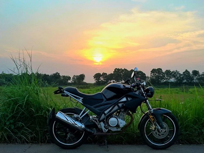 GO ride.. Motorcycle Sunset Grass Outdoors Sky No People Day