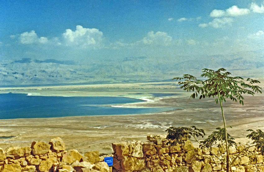 View from the top of the Masada mountain top fortress - Masada, Israel Sea Beach Water Nature Sky Tree Blue Day Outdoors Tranquility Sand Scenics Beauty In Nature Masada No People Blue Sky White Clouds Palm Trees ❤❤ Dead Sea Jordan Idyllic Tranquil Scene Horizon Over Water Cloud - Sky Mountain Region Masada. Israel Dry Brick Wall