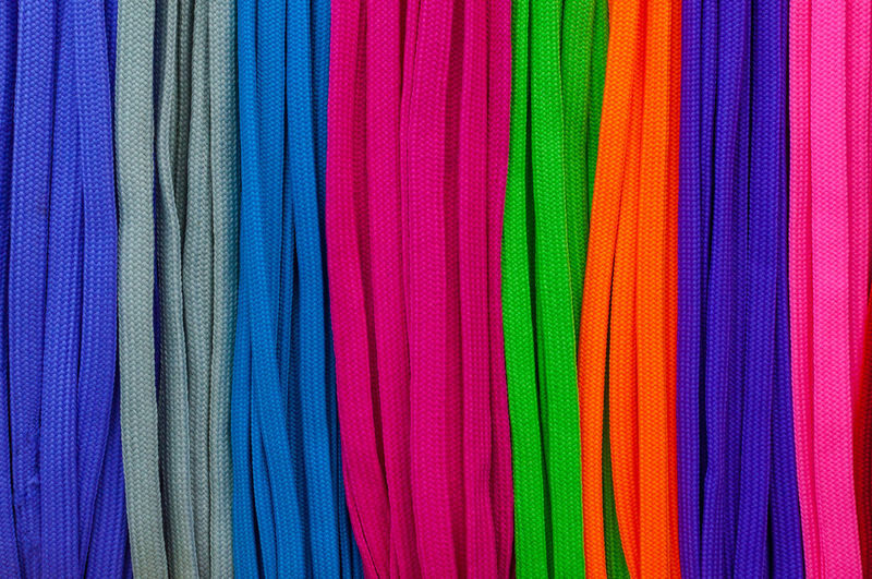 Full frame shot of multi colored shoelaces at market
