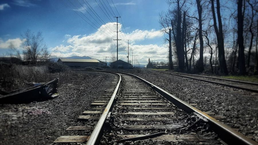 Railroad tracks against sky