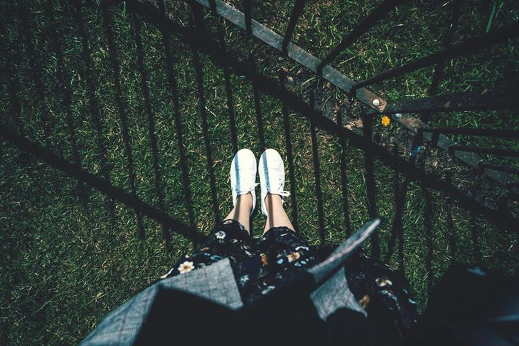 On the Grass Feet On The Ground White Shoes Standing On The Grass Human Leg One Person High Angle View Human Body Part Green Color Day Lifestyles Outdoors Women Shoe Grass Standing