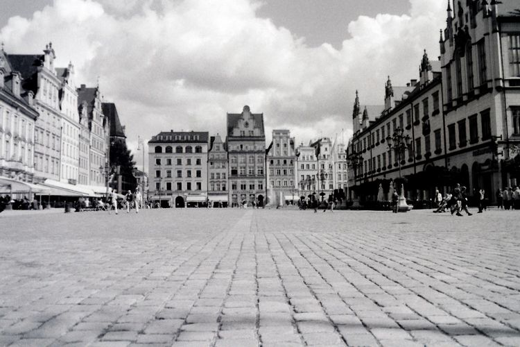 Analogue Analogue Photography Architecture Black And White Blackandwhite City City Street Cloud Day Fomapan Old Town Pavement Paving Stone Pentacon Perspective Praktica Praktica Mtl 5b Rynek Sky Square Street Surface Level Town Square Urban Landscape Film Photography
