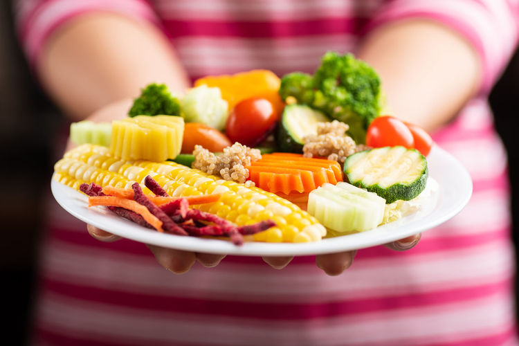 Vegetable salad Homemade Vegetarian Food Broccoli Choice Close-up Focus On Foreground Food Food And Drink Freshness Green Healthy Eating Indoors  Midsection Multi Colored One Person Plate Ready-to-eat Selective Focus Sweetcorn Variation Vegetable Vegetable Salad Wellbeing