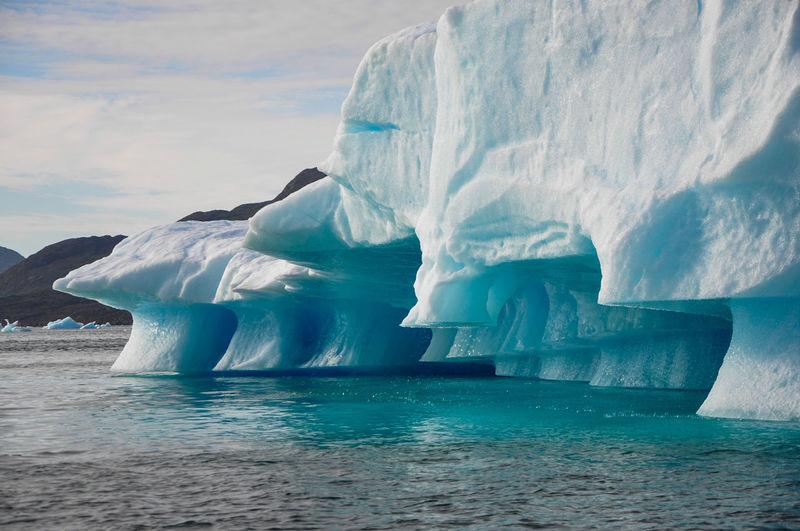 Scenic view of glacier in greenland