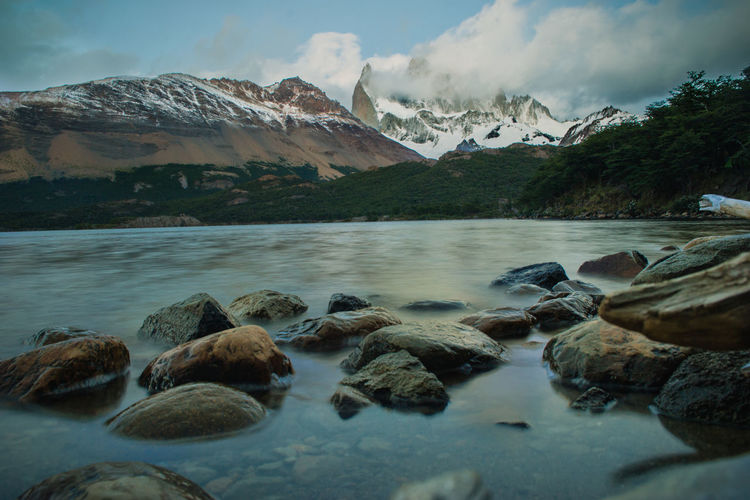 Chalten Fitzroy Argentina Beauty In Nature Day Lake Lake View Mountain Mountain Range Nature Nautical Vessel No People Outdoors Rocks Scenics Sky Water The Great Outdoors - 2018 EyeEm Awards