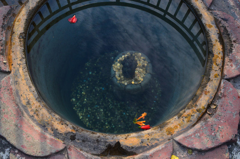 Davi's Fall Pokhara, Nepal Circle No People Outdoors Sky Place Of Worship Close-up Religion Spirituality Wishing Pond Built Structure Cultures Travel Photography Travel Destinations