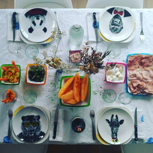 Plate Healthy Eating Food Variation High Angle View Table Food And Drink Directly Above No People Indoors  Fruit Freshness Ready-to-eat Day Guests Dinner Summer Italian Food Dinner Time Lunch Lunchtime Melon Friends Togetherness Table Setting