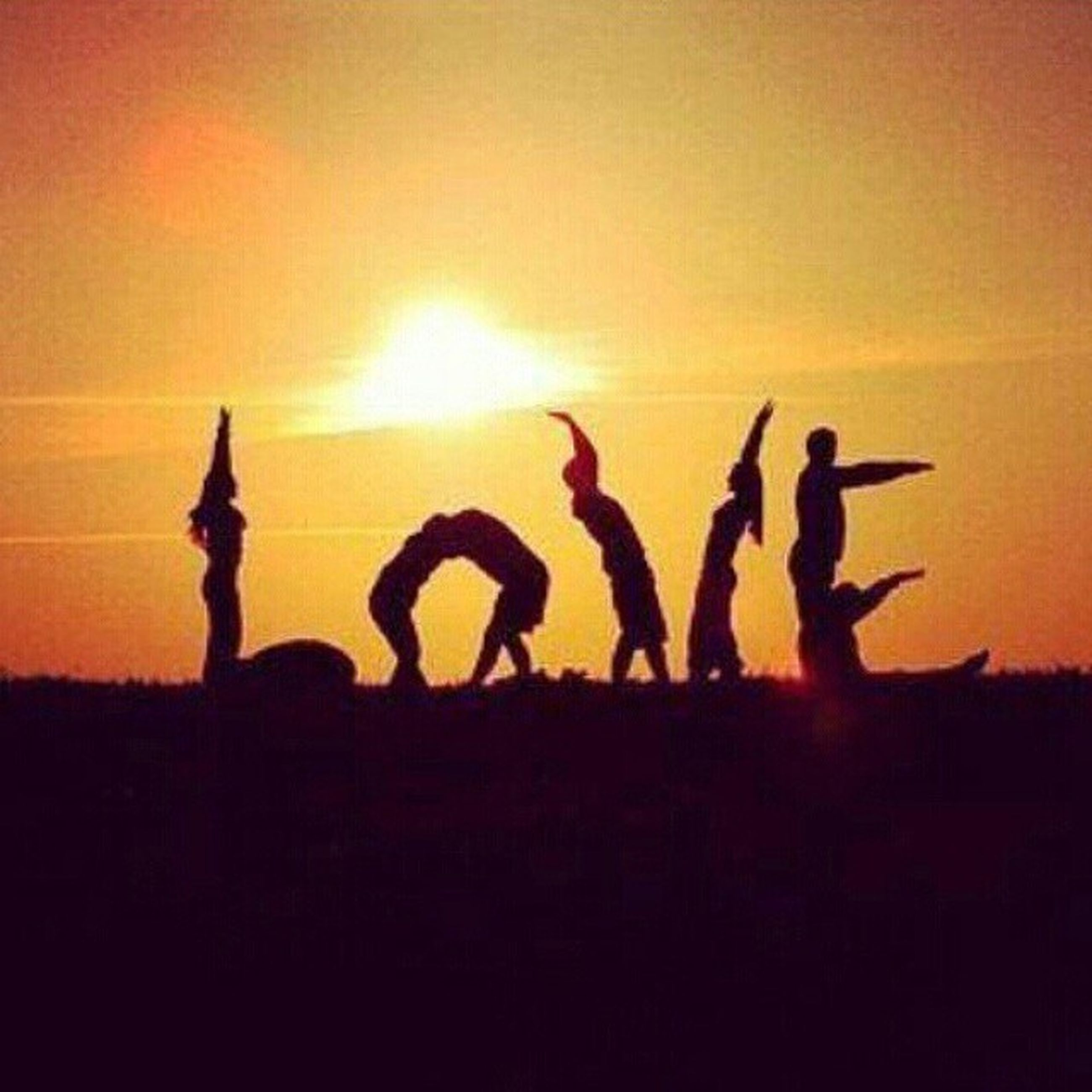 silhouette, sunset, orange color, men, leisure activity, creativity, lifestyles, art and craft, togetherness, art, human representation, text, animal representation, arms raised, sky, outdoors, communication