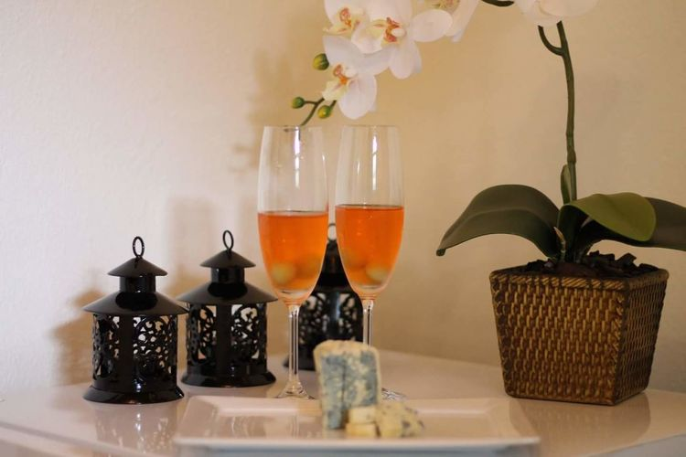 Flower Food And Drink Indoors  Wineglass Drink No People Studio Shot Fragility Close-up Orchid Orchids Aperol Spritz Aperol And Prosecco Italian Drink Italy❤️ Italy 🇮🇹 Venice, Italy