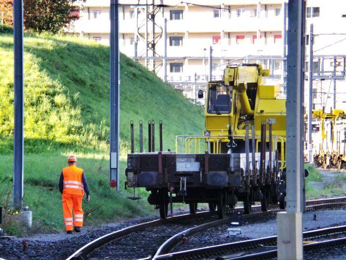 Man At Work Commuting Public Transportation Railway Orange