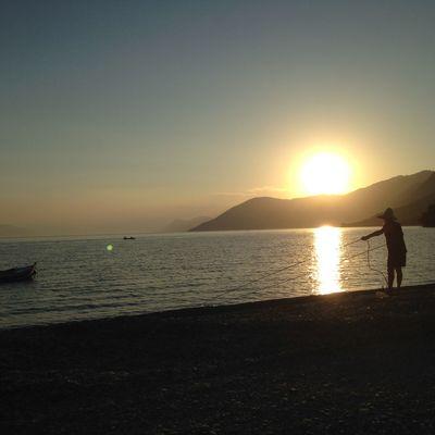 Summer Sunset Fisherman Sea And Sky Greece 📷🚣