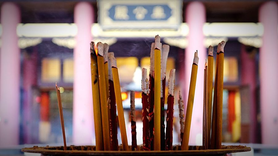 Close-Up Of Lit Incense Sticks At Che Kung Temple