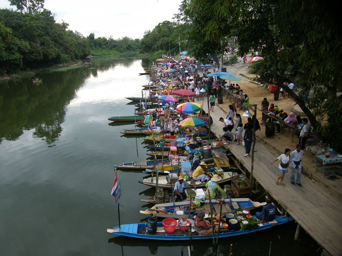 High angle view of people in boats on lake