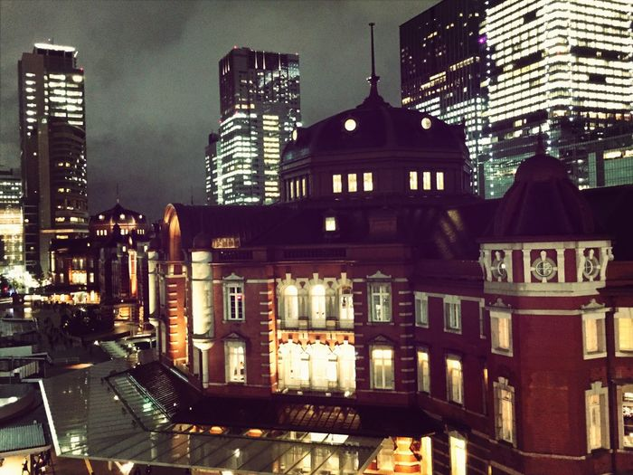 In the twilight at Tokyo station