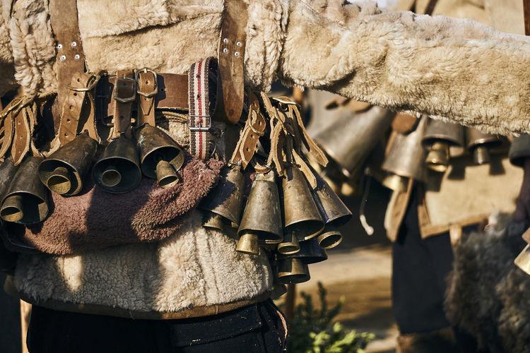Detail Kukeri Mummers Rituals & Cultural Worship Bells Brown Close-up Costume Day Festival Parade