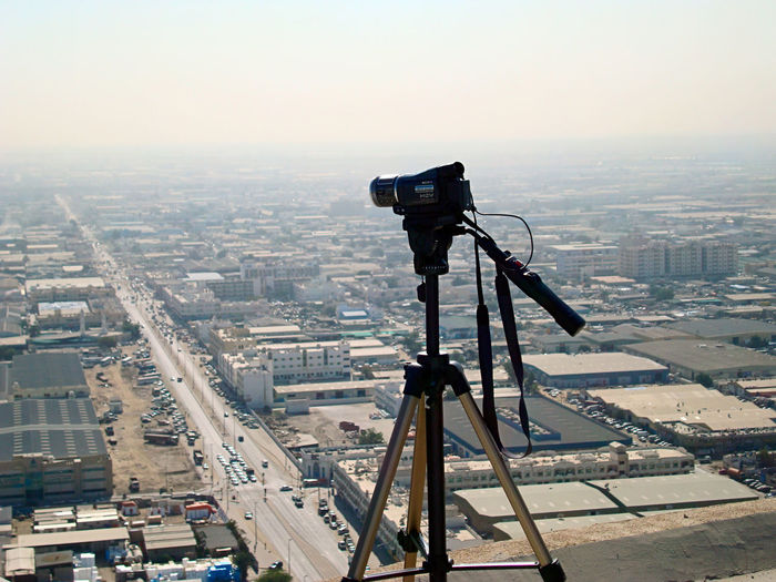 View Of Cityscape With Camera In Foreground