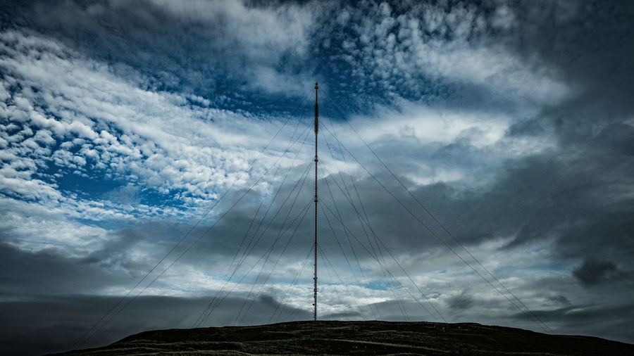 Blue Sky And Cloud Cloudscape Colour Dramatic Sky Low Angle View Mast Power Cable Rural Scene Selkirk Sky