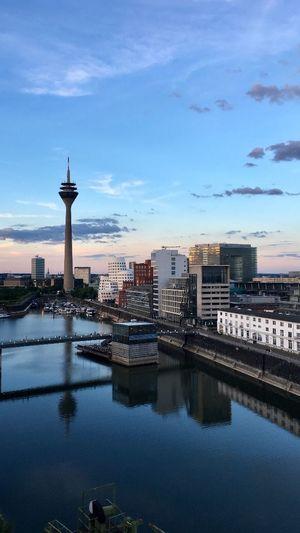 Düsseldorf Architecture Built Structure Building Exterior Tower Sky Water Reflection