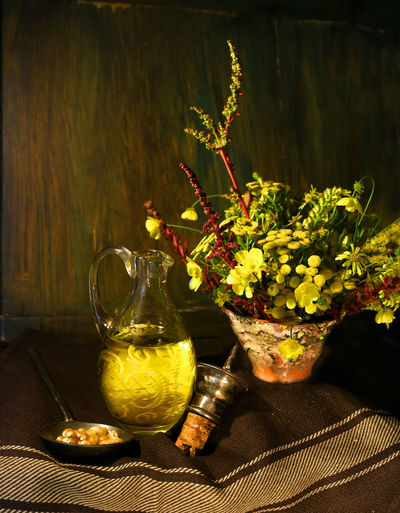 Cooking Oil Paint The Town Yellow Carafe Decanter Flower Oil Still Life Table Vase