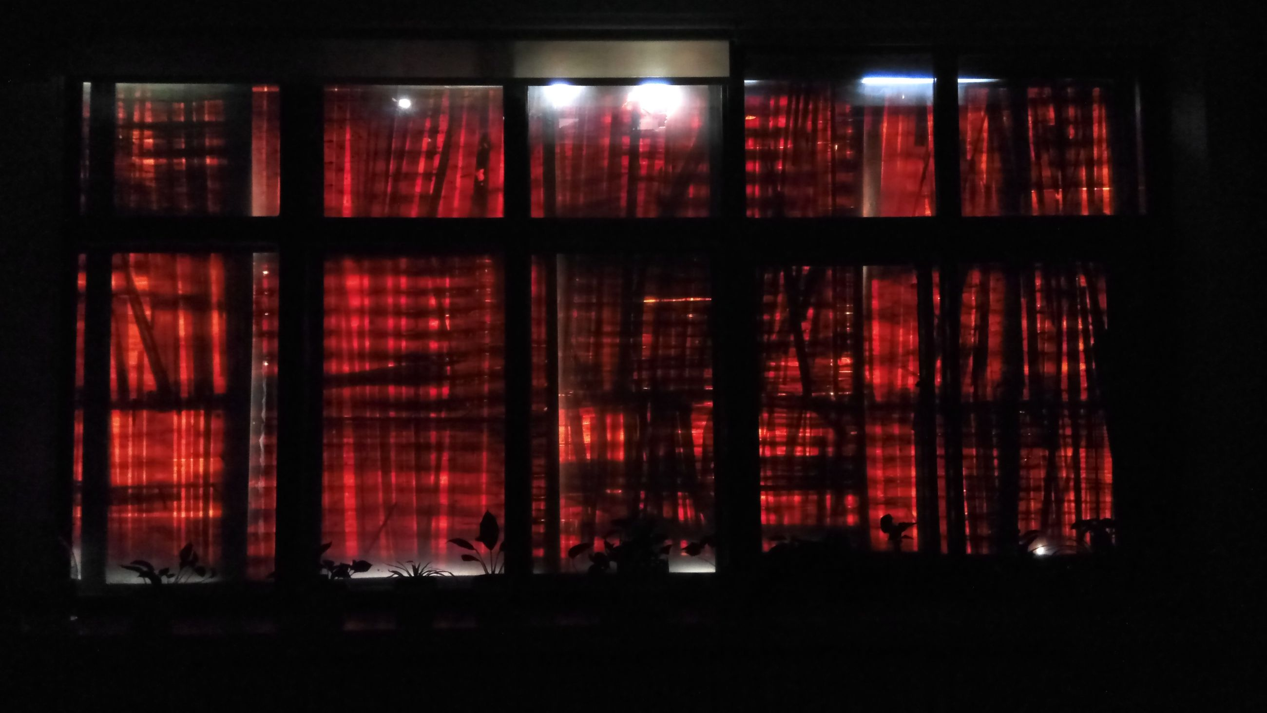 red, indoors, illuminated, window, curtain, night, no people, architecture, close-up