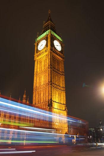 Illuminated tower of building at night