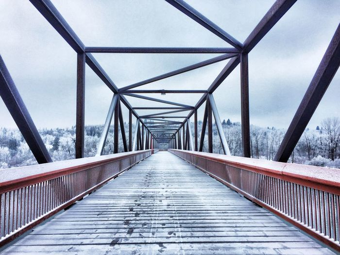 The Way Forward Built Structure Bridge - Man Made Structure Railing Sky Connection Day Architecture Footbridge Outdoors No People Nature winter frost morning snow bridge