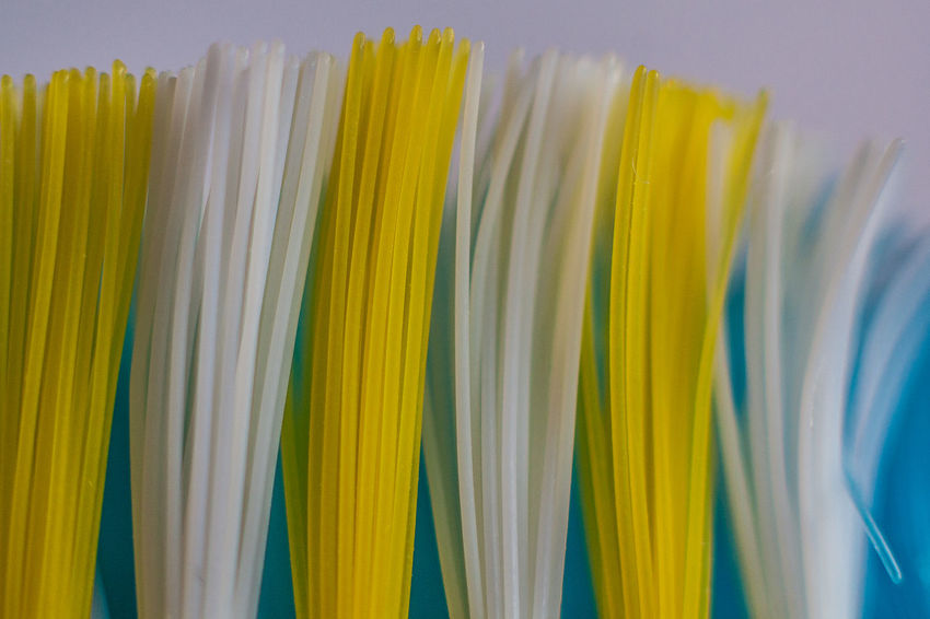 Abundance Arrangement Blue Bristles Brush Close-up Colorful In A Row Macro Multi Colored No People Side By Side Toothbrush Variation White Yellow