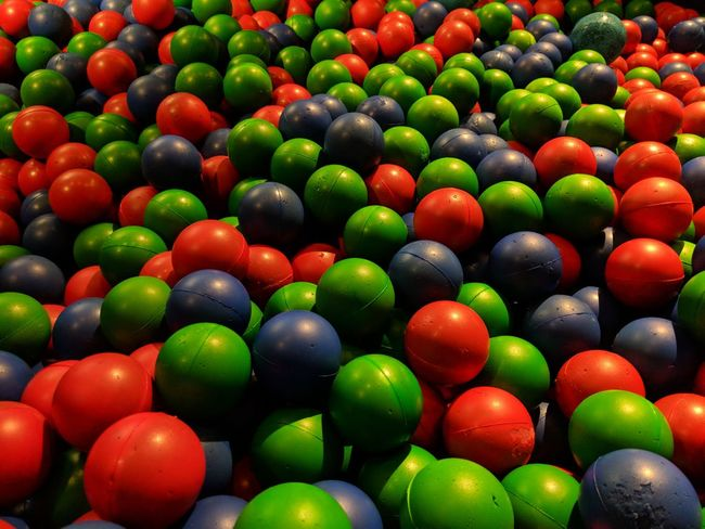 Balls Rubber Rubber Ball Multi Colored Backgrounds Red Fruit Full Frame Space Close-up Green Color