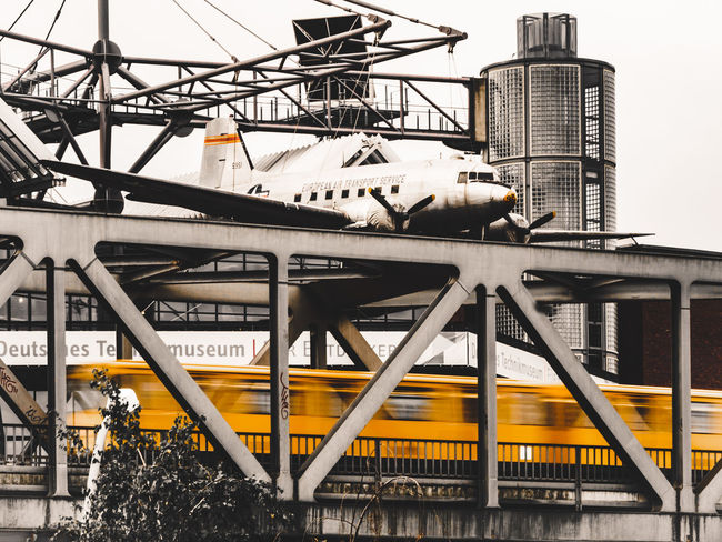 Transportation Architecture Built Structure Candy Bomber Steel No People Day Exterior City Girder Train Airplane Subway Ubahn Ubahn Berlin Museum Technikmuseum Rosinenbomber Motion Discover Berlin Paint The Town Yellow