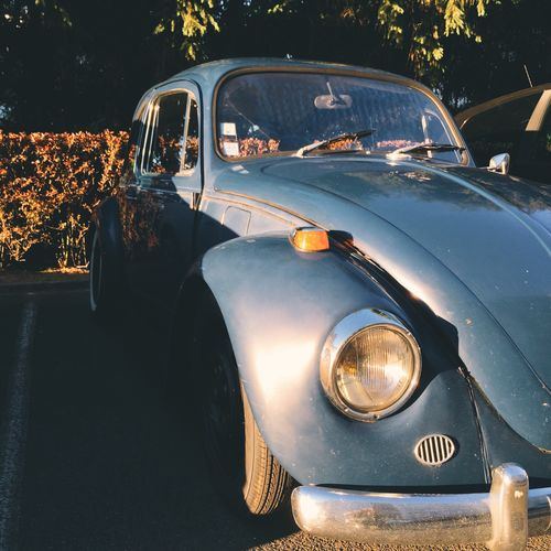 Sunlight Fallen On Vintage Car Parked