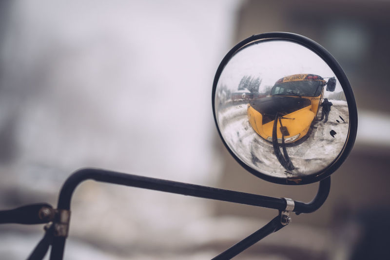 Close-up Convex Convex Mirror Day No People Outdoors Reflection School Bus Selfie Vehicle Mirror Winter