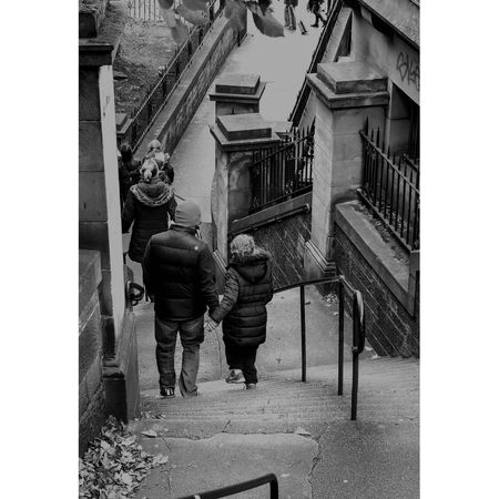 People Street Streetphotography Blackandwhite Monochrome Staircase Edinburgh Scotland Nikon Nikonphotography Nikond750 Men Full Length Working Architecture Building Exterior Built Structure