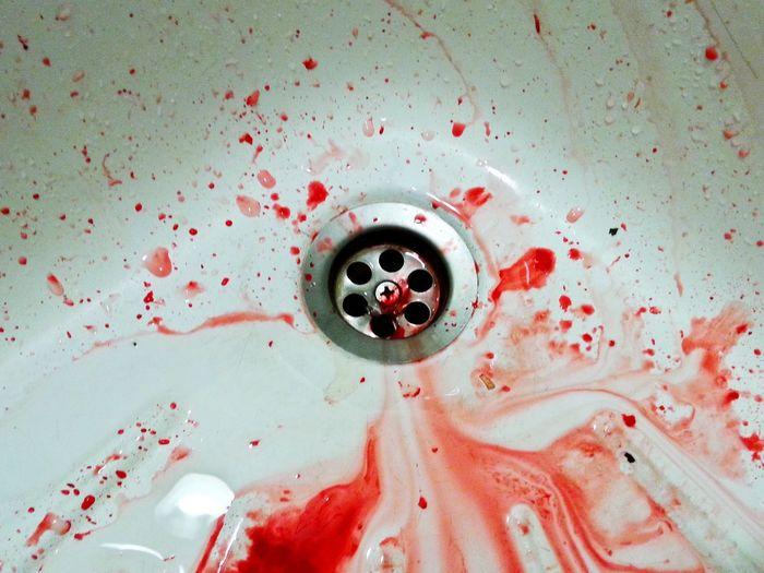 Sink with drops of blood Murder Blood Sink Bathroom Domestic Bathroom Home Household Equipment Drain Domestic Room The Minimalist - 2019 EyeEm Awards