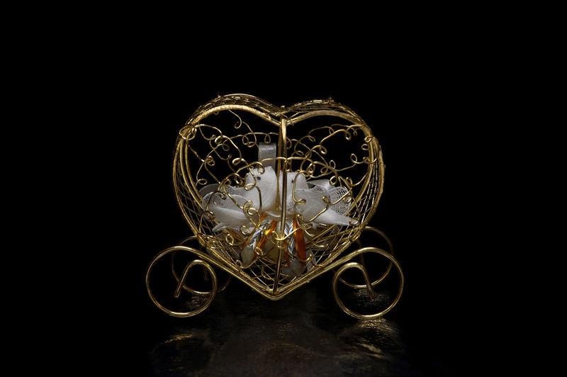 Birds Black Background Carriage Close Up Dove Gold Light Box Light Tent Low Key Miniature Still Life Wedding