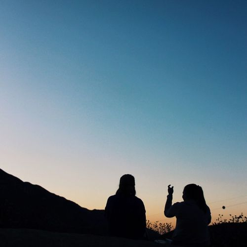 Two Is Better Than One Ally and Claire, 2015 Silhouette Copy Space Togetherness Lifestyles Clear Sky Leisure Activity Person Dusk Mountain Friendship Tranquility Carefree Blue Tranquil Scene Scenics Nature Outdoors Beauty In Nature Friends
