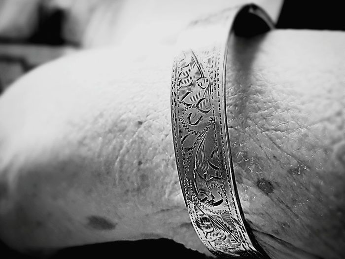 Human Body Part Close-up One Person Adult Adults Only Old Woman Jewellery Bangle Aged Skin Detail Engraved Image