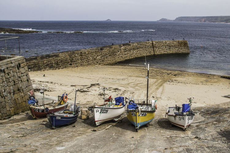 High angle view of fishing boats on beach