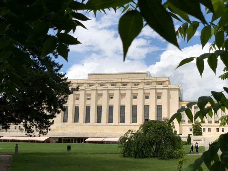 United Nations Building in Geneva, Switzerland. Geneva United Nations Plant Tree Architecture Built Structure Building Exterior Sky Nature Travel Destinations Incidental People Day Cloud - Sky Grass Façade Outdoors Travel