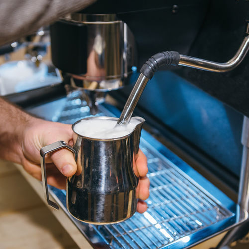 Milk Froth With Espresso Coffee Machine Beverage Coffee Time Espresso Hot Machine Square Aroma Brewing Cafe Cappuccino Coffe Shop Drink Equipment Food And Drink Hand Hot Drink Indoors  Kitchen Maker Making Milk Occupation Preparation  Reataurant Working