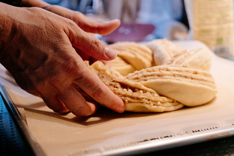 Close up of human hand preparing cake dough