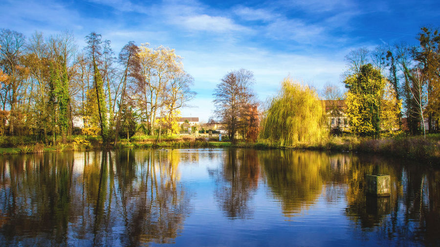 Bavarian summer feeling Autumn Autumn Colors Bavaria Feeling German Beauty In Nature Cloud - Sky Day Fall Germany Lake Landscape Nature No People Outdoors Reflection Scenics Sky Summer Tranquil Scene Tranquility Tree Water Waterfront Wiesentheid